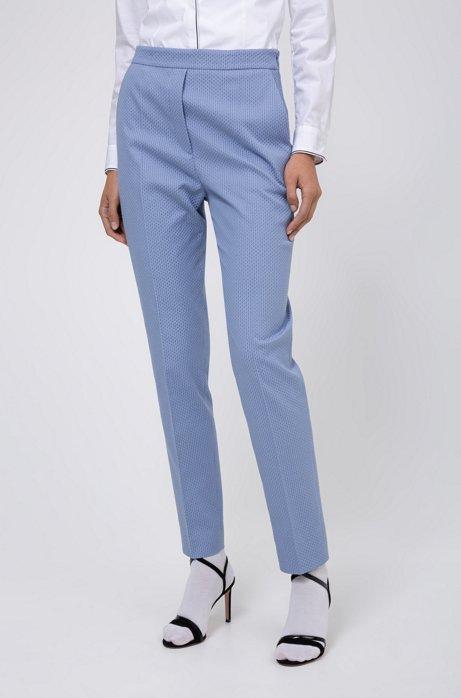 Slim-fit broek van een katoenmix met stretch en een dessin, Lichtblauw