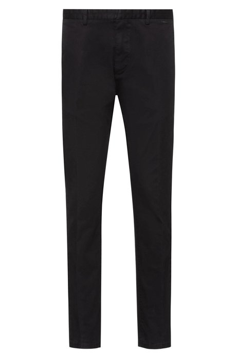 Slim-fit trousers in overdyed stretch-cotton gabardine, Black