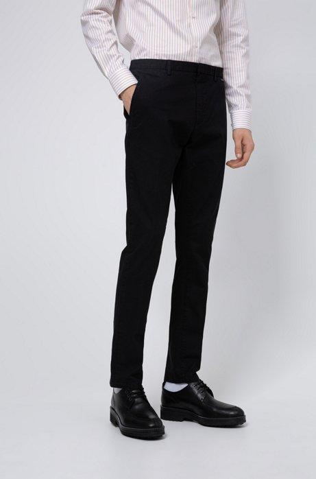 Slim-fit broek in een gabardine van oververfde stretchkatoen, Zwart