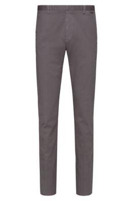 Slim-fit trousers in overdyed stretch-cotton gabardine, Dark Grey