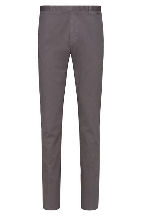 Slim-fit trousers in overdyed stretch-cotton gabardine, Dark Grey