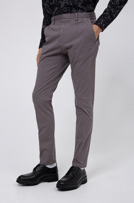 Pantalon Slim Fit en gabardine de coton stretch surteint, Gris sombre