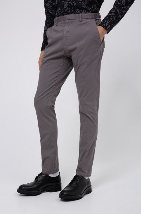 Slim-Fit Hose aus überfärbter Strech-Gabardine, Dunkelgrau