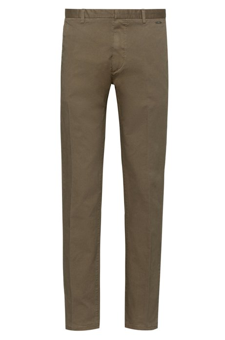 Slim-fit trousers in overdyed stretch-cotton gabardine, Khaki