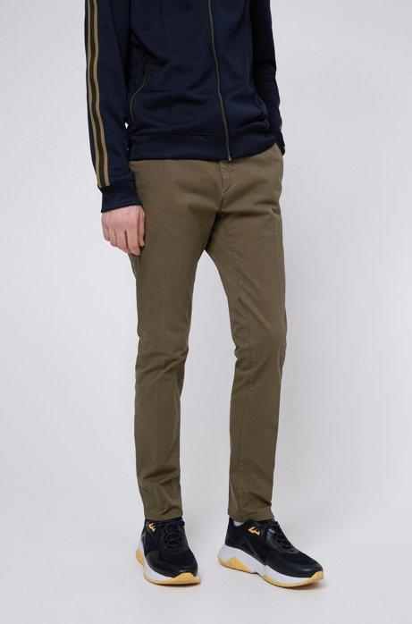 Slim-fit broek in een gabardine van oververfde stretchkatoen, Kaki