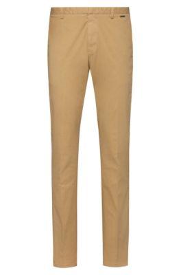 Slim-Fit Hose aus überfärbter Strech-Gabardine, Beige