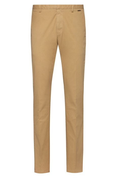 Slim-fit trousers in overdyed stretch-cotton gabardine, Beige