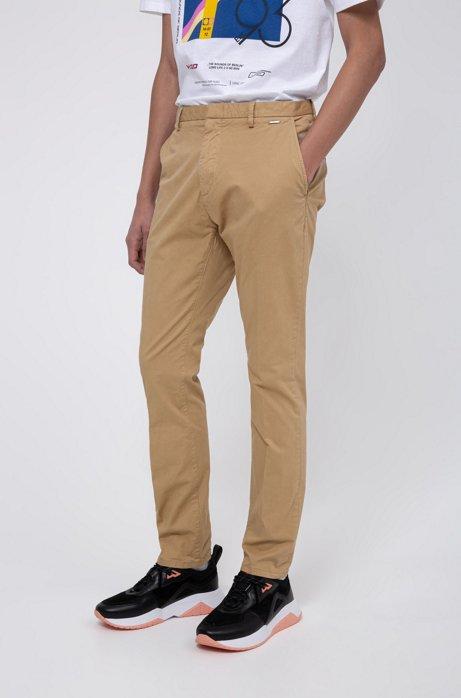 Pantalones slim fit en tejido de gabardina de algodón elástico con teñido especial, Beige