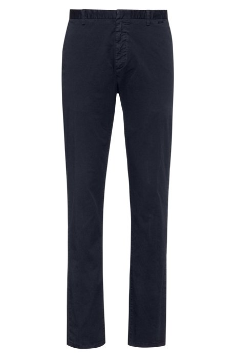 Slim-fit trousers in overdyed stretch-cotton gabardine, Dark Blue