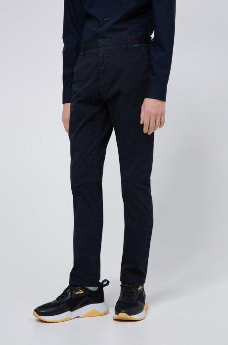 Slim-fit broek in een gabardine van oververfde stretchkatoen, Donkerblauw