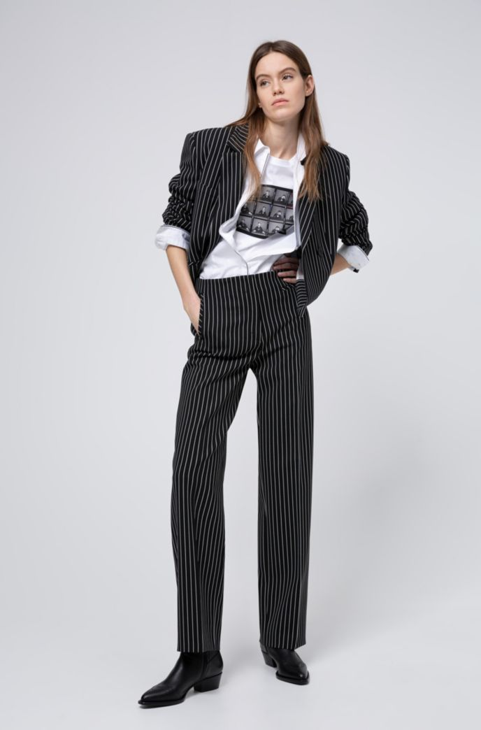 Giacca corta relaxed fit con righe verticali
