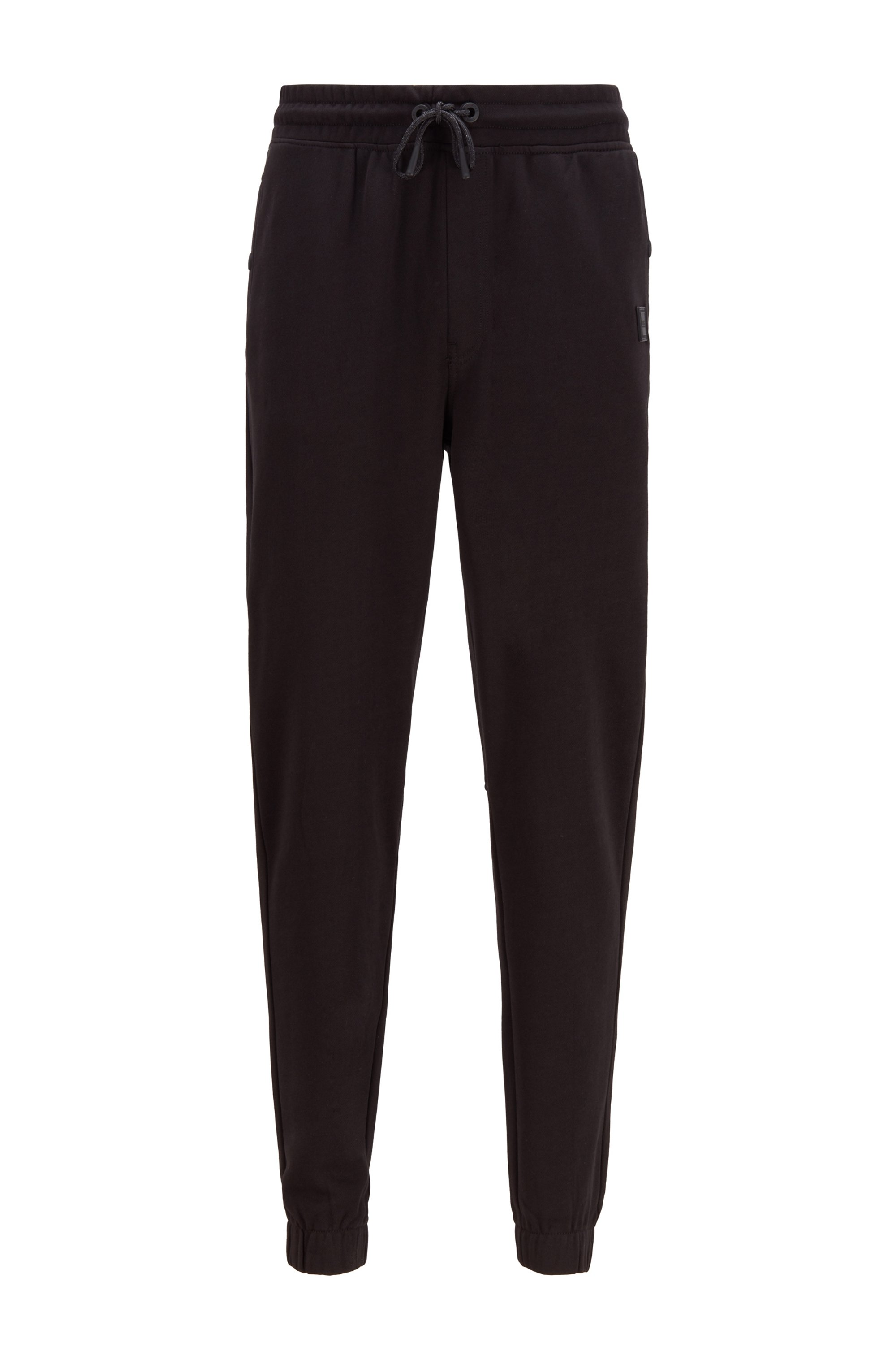 Relaxed-fit trousers in cotton terry with rubber trims, Black
