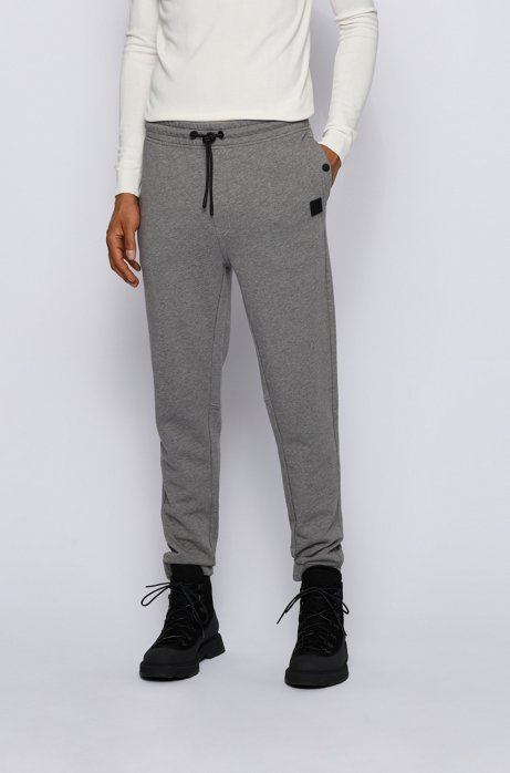 Relaxed-fit trousers in cotton terry with rubber trims, Light Grey
