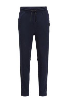 Relaxed-fit trousers in cotton terry with rubber trims, Dark Blue