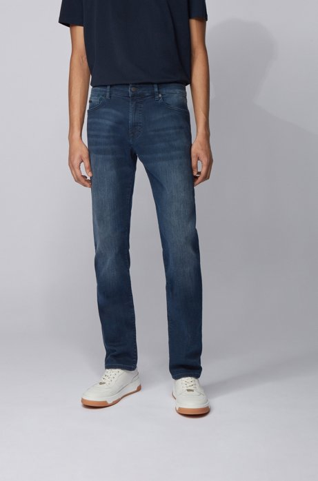 Regular-fit jeans in blue-black super-stretch denim, Dark Blue