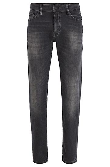 男士黑色涂层常规版牛仔裤,  005_黑色