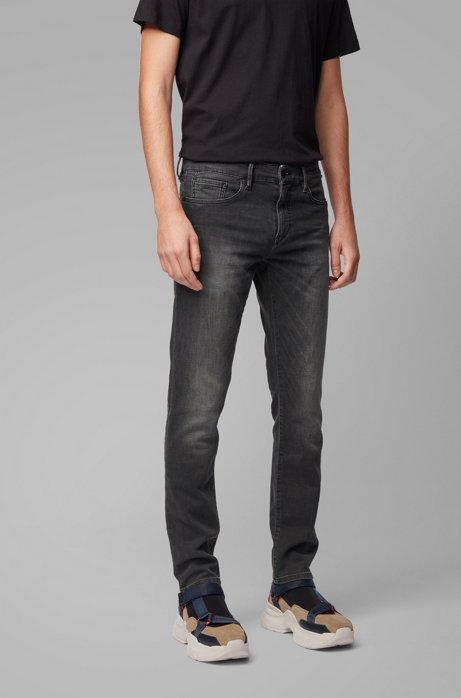 Skinny-Fit Jeans aus gestricktem Stretch-Denim, Schwarz