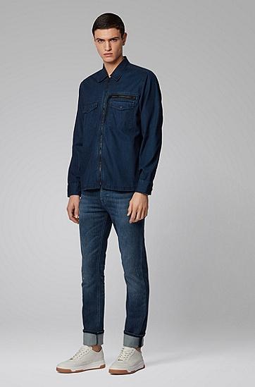 男士修身弹力牛仔裤,  429_中蓝色