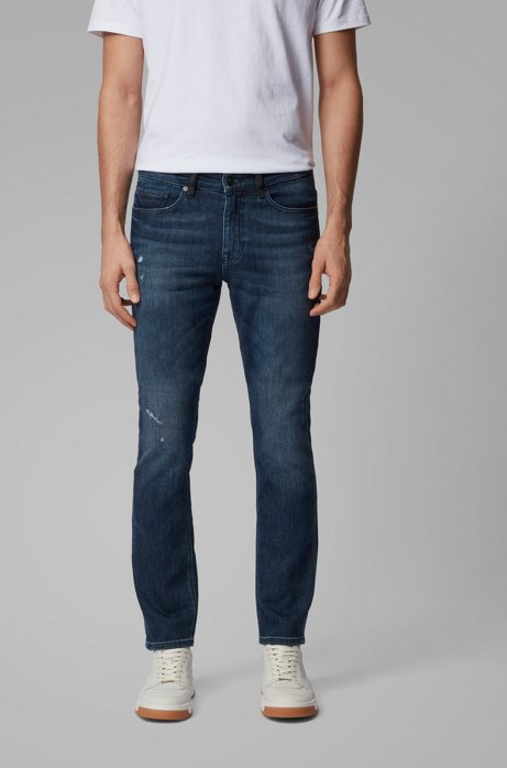 Slim-Fit Jeans aus gestricktem Stretch-Denim, Blau