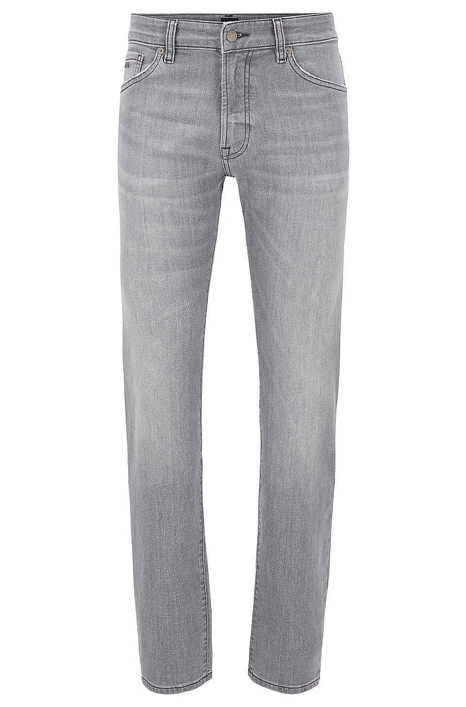 BOSS - Regular-fit jeans in grey super-stretch denim