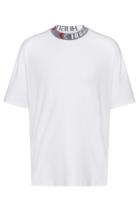 Oversize-fit cotton T-shirt with logo neckline, White