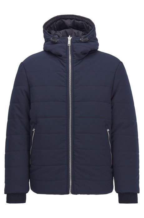 Reversible jacket in water-repellent mixed fabrics, Dark Blue