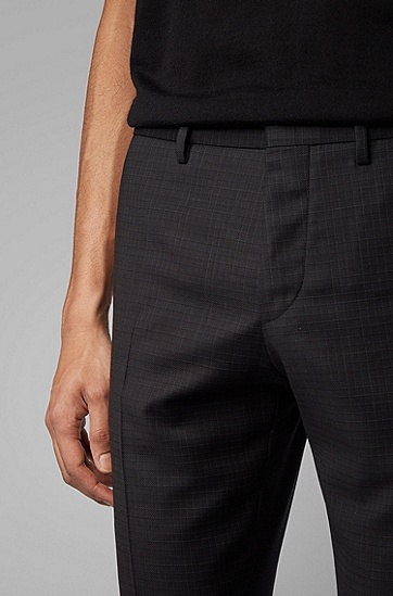 男士修身羊毛直筒裤,  001_黑色