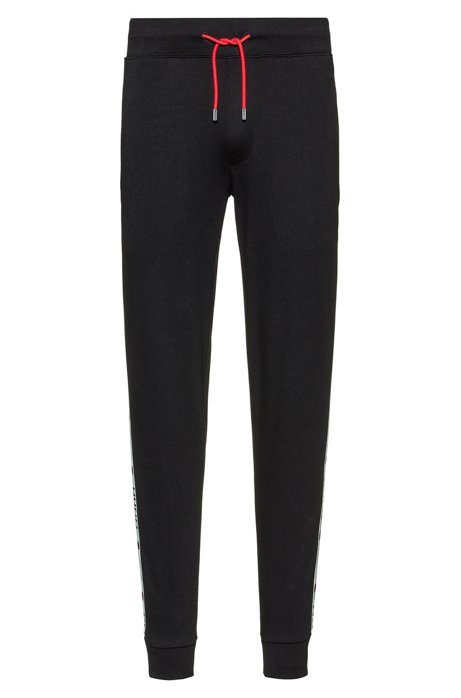 Cotton jogging trousers with chevron-print logo tape, Black