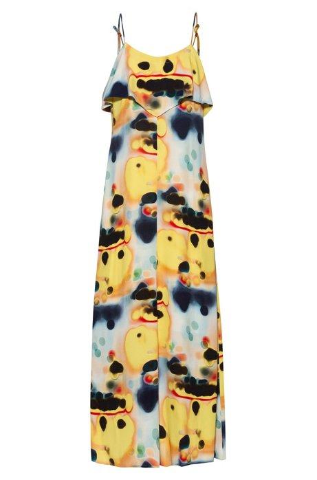 Midi-jurk van tie-dyed materiaal met volantdetail, Geel