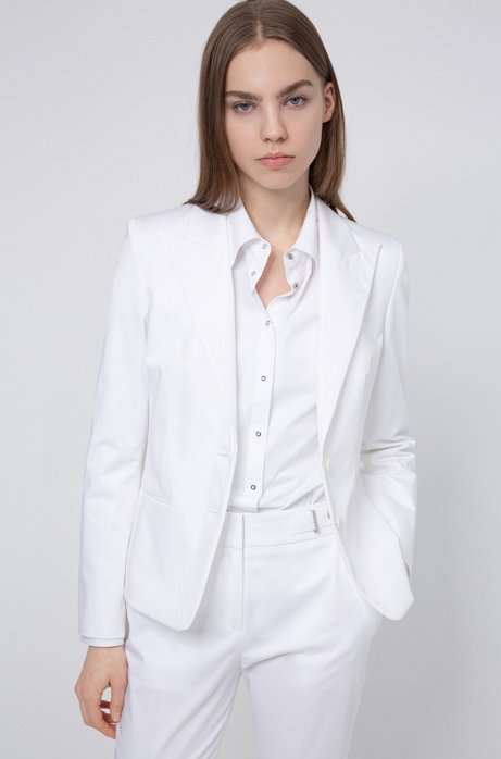Giacca regular fit in cotone elasticizzato, Bianco