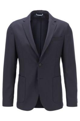 Veste Slim Fit en laine traçable mélangée, Bleu foncé