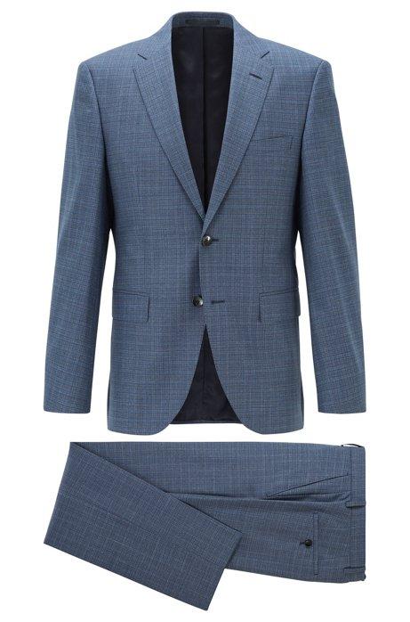 Costume Regular Fit en sergé de laine vierge à motif, Bleu vif