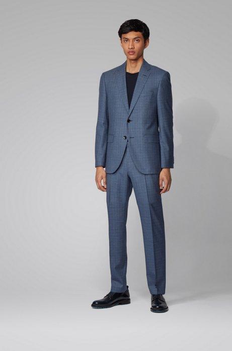 Gemusterter Regular-Fit Anzug aus Schurwoll-Serge, Hellblau