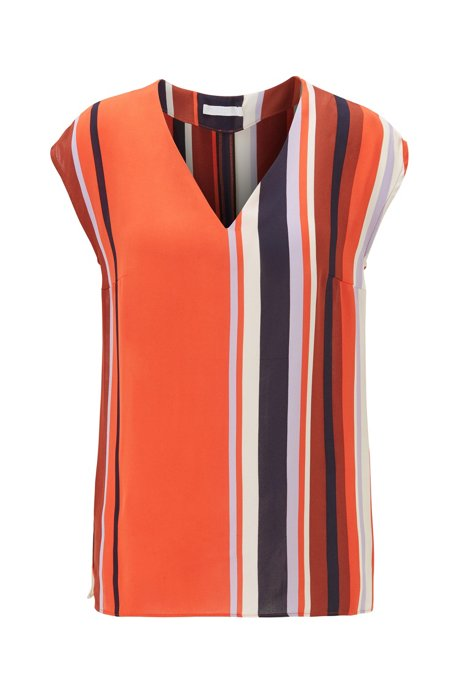 Regular-fit top with V-neck and block stripes, Patterned