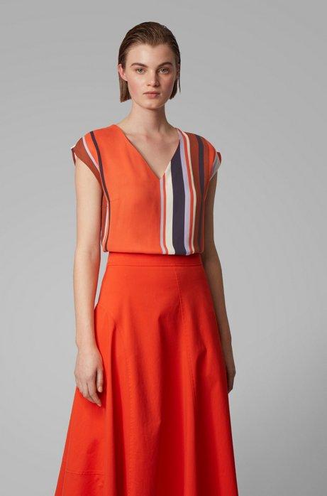 Blusa regular fit con scollo a V a righe grosse, A disegni