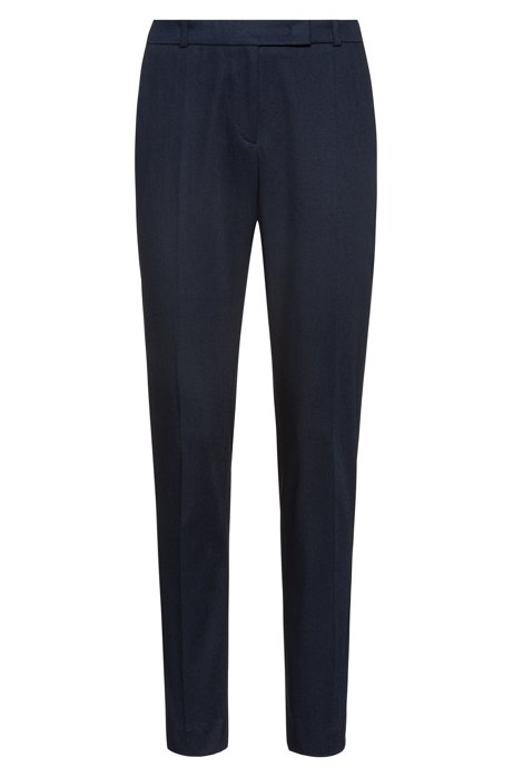 Regular-fit trousers in stretch cotton with French pockets, Dark Blue