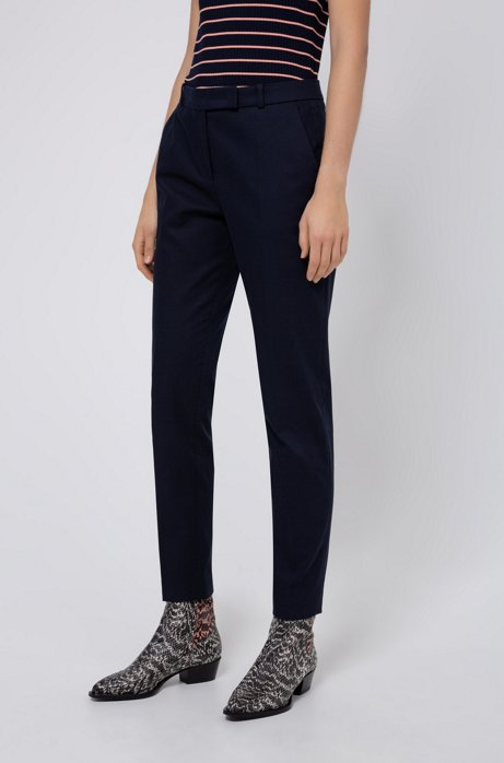 Regular-Fit Hose aus Stretch-Baumwolle mit Eingrifftaschen, Dunkelblau