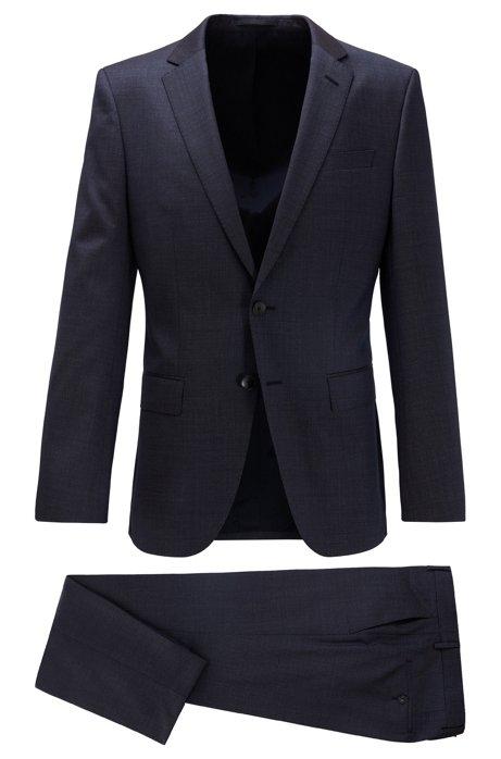 Costume Slim Fit en laine vierge chinée, Bleu foncé