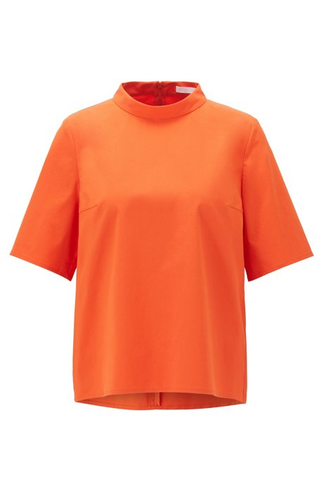 Regular-fit top in een stretchtwill met opstaande kraag, Oranje