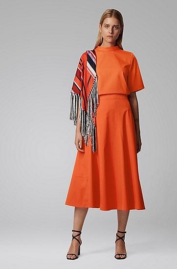 女士弹力斜纹布常规版型立领上衣,  820_亮橙色