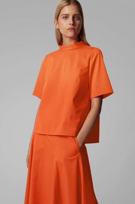 Regular-fit top in stretch twill with stand collar, Orange