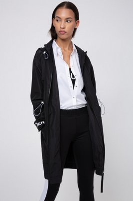 Relaxed-fit parka with logo-print cuff straps, Black