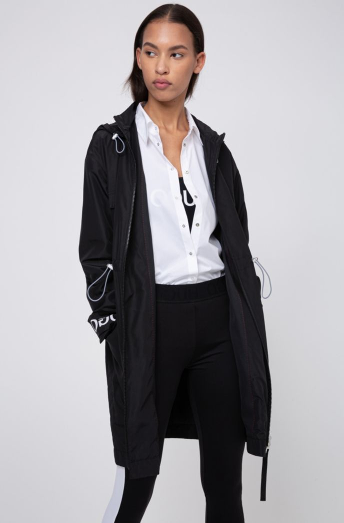 Relaxed-fit parka with logo-print cuff straps