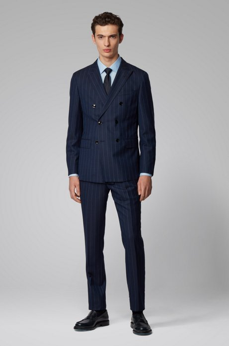 Double-breasted slim-fit suit in pinstripe virgin wool, Dark Blue