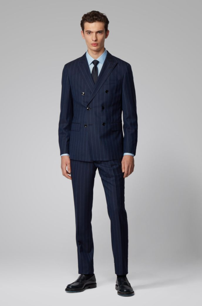 Double-breasted slim-fit suit in pinstripe virgin wool