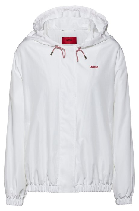 Relaxed-fit hooded jacket with reversed-logo print, White