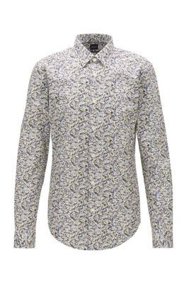 Slim-fit overhemd van katoenen popeline met abstracte print, Geel