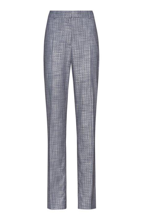 Pantalon Regular Fit en tissu stretch chiné, Bleu vif