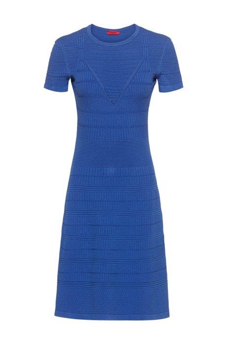 Gebreide jurk van super-stretchmateriaal met gemengde structuren, Blauw