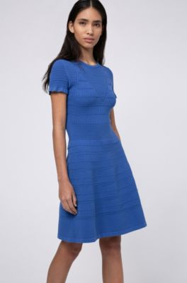 Hugo Super Stretch Knitted Dress With Mixed Structures